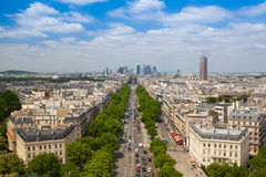 Άποψη από Arc de Triomphe στο Παρίσι Στοκ Εικόνα