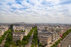Άποψη από Arc de Triomphe στο Παρίσι Στοκ εικόνες με δικαίωμα ελεύθερης χρήσης
