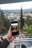 Άποψη από funicular σε μια άμεση ράγα, Tbilisi Στοκ Φωτογραφία