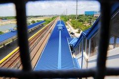 Άποψη από overpass στο σταθμό τρένου, ΛΦ στοκ εικόνες με δικαίωμα ελεύθερης χρήσης