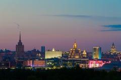 Άποψη βραδιού της στο κέντρο της πόλης Μόσχας Στοκ εικόνες με δικαίωμα ελεύθερης χρήσης