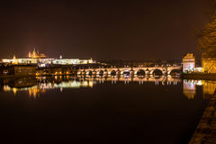 Άποψη βραδιού της Πράγας. Δημοκρατία της Τσεχίας Στοκ Φωτογραφίες