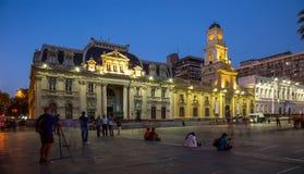 Άποψη βραδιού Plaza de Armas Χιλή Σαντιάγο Στοκ Εικόνες