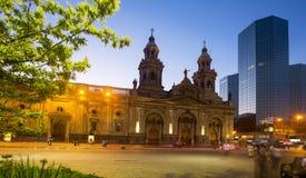 Άποψη βραδιού Plaza de Armas Χιλή Σαντιάγο Στοκ εικόνα με δικαίωμα ελεύθερης χρήσης