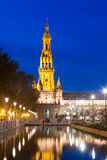 Άποψη βραδιού Plaza de Espana με τον πύργο Σεβίλη Στοκ φωτογραφία με δικαίωμα ελεύθερης χρήσης