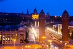 Άποψη βραδιού Plaza de Espana με τους ενετικούς πύργους Στοκ Φωτογραφίες