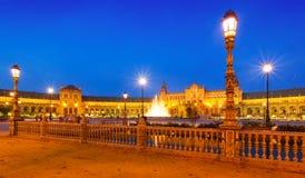 Άποψη βραδιού Plaza de Espana με το φράκτη Στοκ εικόνες με δικαίωμα ελεύθερης χρήσης