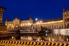 Άποψη βραδιού Plaza de Espana Σεβίλλη Στοκ φωτογραφία με δικαίωμα ελεύθερης χρήσης