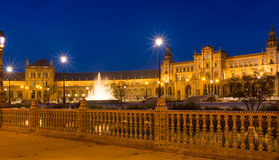 Άποψη βραδιού Plaza de Espana Σεβίλη Στοκ Εικόνες