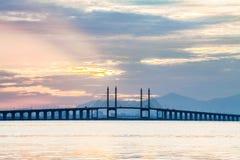 Άποψη γεφυρών Penang από την ακτή της πόλης του George, Μαλαισία Στοκ Εικόνα