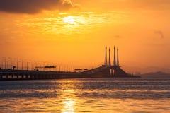 Άποψη γεφυρών Penang από την ακτή της πόλης του George, Μαλαισία Στοκ φωτογραφίες με δικαίωμα ελεύθερης χρήσης