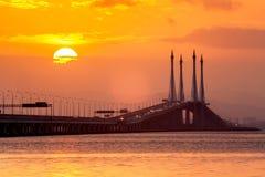 Άποψη γεφυρών Penang από την ακτή της πόλης του George, Μαλαισία Στοκ Φωτογραφία