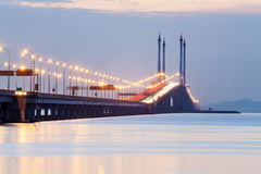 Άποψη γεφυρών Penang από την ακτή της πόλης Penang, Μαλαισία του George Στοκ φωτογραφία με δικαίωμα ελεύθερης χρήσης