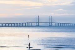 Άποψη γεφυρών Penang από την ακτή της πόλης Penang, Μαλαισία του George Στοκ εικόνες με δικαίωμα ελεύθερης χρήσης