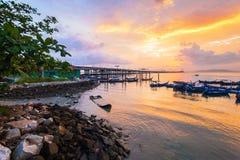 Άποψη γεφυρών Penang από την ακτή Στοκ Εικόνες