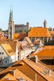 Άποψη εικονικής παράστασης πόλης πρωινού σχετικά με την πόλη Nurnberg, Γερμανία στοκ εικόνες