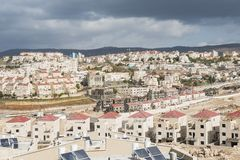 Άποψη εικονικής παράστασης πόλης στην ανάπτυξη της πόλης Beit Shemesh, περιοχή Α, Ισραήλ Ramat Alef Στοκ εικόνα με δικαίωμα ελεύθερης χρήσης