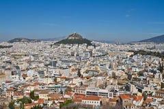 Άποψη εικονικής παράστασης πόλης της Αθήνας, Ελλάδα Στοκ φωτογραφίες με δικαίωμα ελεύθερης χρήσης