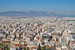 Άποψη εικονικής παράστασης πόλης της Αθήνας, Ελλάδα Στοκ Εικόνες