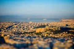 Άποψη εικονικής παράστασης πόλης της Αθήνας Στοκ εικόνες με δικαίωμα ελεύθερης χρήσης