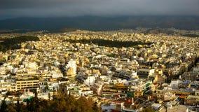 Άποψη εικονικής παράστασης πόλης της Αθήνας Στοκ εικόνα με δικαίωμα ελεύθερης χρήσης