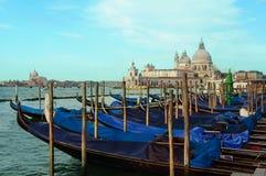 Άποψη εικονικής παράστασης πόλης της Βενετίας σχετικά με τη βασιλική χαιρετισμού della της Σάντα Μαρία με Στοκ Φωτογραφία