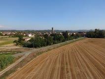 Άποψη ενός ιταλικού μικρού χωριού στη Po κοιλάδα Στοκ Εικόνες