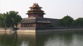 Άποψη ενός πύργου γωνιών στην απαγορευμένη πόλη του Πεκίνου απόθεμα βίντεο