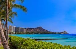 Άποψη επάνω στο κεφάλι διαμαντιών σε Waikiki Χαβάη στοκ εικόνα