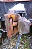 Άποψη λεπτομέρειας σχετικά με έναν συζευκτήρα τραίνων φορτίου Στοκ Εικόνα