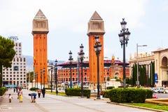 Άποψη ημέρας Plaza de Espana με τους ενετικούς πύργους Στοκ εικόνα με δικαίωμα ελεύθερης χρήσης