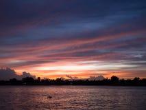 Άποψη ηλιοβασιλέματος από τον ποταμό Chao Phraya Στοκ Φωτογραφίες