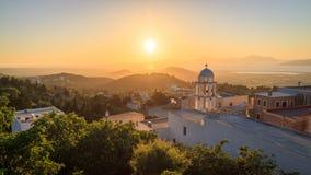 Άποψη ηλιοβασιλέματος από το χωριό Asfendiou στο νησί Kos στοκ φωτογραφία