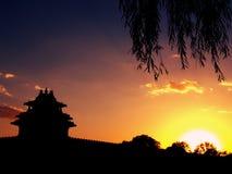Άποψη ηλιοβασιλέματος στο Πεκίνο Στοκ Φωτογραφία