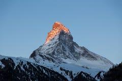 Άποψη ηλιοβασιλέματος του Matterhorn Στοκ Εικόνα