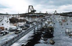 Άποψη θάλασσας αποκάλυψης γέφυρα που καταστρέφετα&i Έννοια Armageddon τρισδιάστατη απόδοση Στοκ Εικόνες