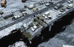 Άποψη θάλασσας αποκάλυψης γέφυρα που καταστρέφετα&i Έννοια Armageddon τρισδιάστατη απόδοση ελεύθερη απεικόνιση δικαιώματος
