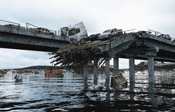 Άποψη θάλασσας αποκάλυψης γέφυρα που καταστρέφετα&i Έννοια Armageddon τρισδιάστατη απόδοση Στοκ Εικόνα