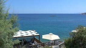 Άποψη θάλασσας του κόλπου Κρήτη Mirabello απόθεμα βίντεο