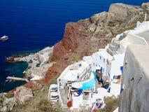 Άποψη θάλασσας Santorini του ρομαντικού πεζουλιού Στοκ φωτογραφία με δικαίωμα ελεύθερης χρήσης