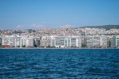 Άποψη Θεσσαλονίκης Ελλάδα από τη θάλασσα Στοκ Φωτογραφία