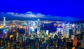 Άποψη λιμενικής νύχτας Βικτώριας Χονγκ Κονγκ Στοκ φωτογραφία με δικαίωμα ελεύθερης χρήσης