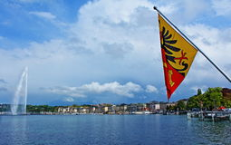 Άποψη λιμνών της Γενεύης Στοκ Εικόνα