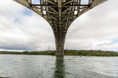 Άποψη κάτω από τη γέφυρα Britannia από κάτω από στοκ φωτογραφία με δικαίωμα ελεύθερης χρήσης