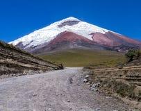 Άποψη καλυμμένου του χιόνι ηφαιστείου Cotopaxi, Ισημερινός Στοκ Εικόνες