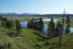 Άποψη κατά τη διάρκεια του ποταμού Yellowstone από μια βουνοπλαγιά Στοκ Φωτογραφίες