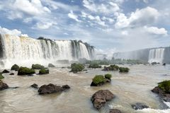 Άποψη καταρρακτών Iguazu από τη βραζιλιάνα πλευρά Στοκ Εικόνες