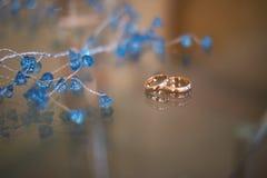 Άποψη κινηματογραφήσεων σε πρώτο πλάνο των χρυσών γαμήλιων δαχτυλιδιών και των όμορφων μικρών μπλε λουλουδιών Στοκ εικόνα με δικαίωμα ελεύθερης χρήσης