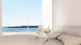 Άποψη κρεβατοκάμαρων και πεζουλιών στο ξενοδοχείο - τρισδιάστατη απόδοση Στοκ φωτογραφία με δικαίωμα ελεύθερης χρήσης