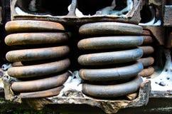 Άποψη λεπτομέρειας σχετικά με σκουριασμένα ελατήρια παλαιό boxcar στοκ φωτογραφίες με δικαίωμα ελεύθερης χρήσης